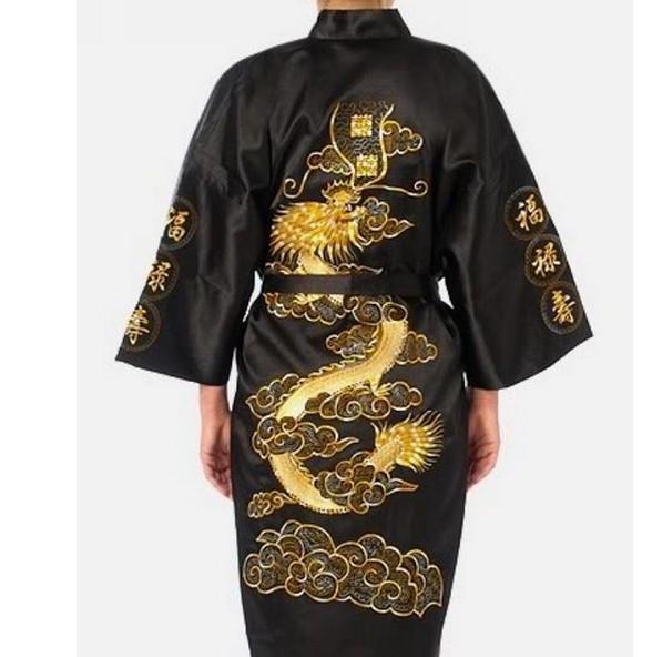 Plus Size XXXL Black Chinese Women Silk Satin Robe Novelty Embroidery Dragon Kimono Yukata Bath Gown Sleepwear Nightgown