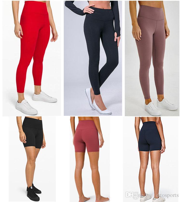 LU-32 Mujeres de Color Sólido pantalones de yoga Cintura Alta Deportes Gimnasio Desgaste Leggings Elástico Fitness Señora Medias Completas Completas Entrenamiento