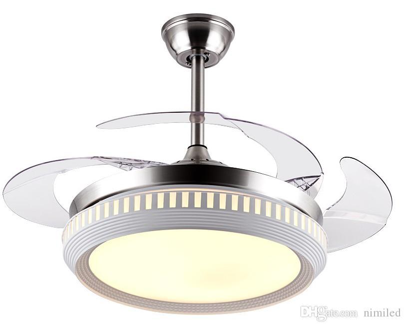Невидимый потолочный вентилятор со светодиодным светом и дистанционным управлением 4 убирающиеся лопасти вентилятор люстры для спальни LLFA LLFA