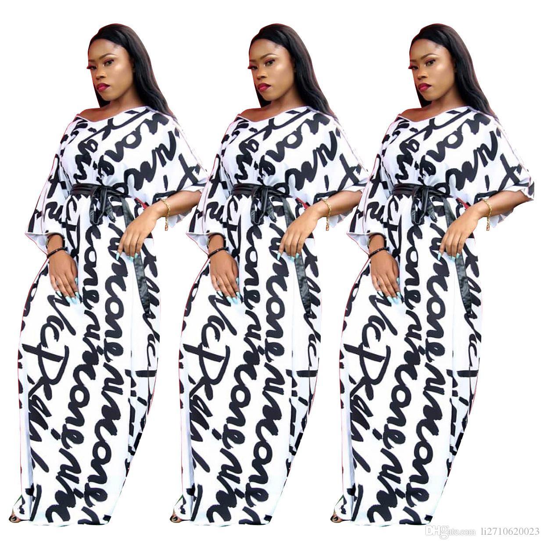 여성 패션 클래식 띠 맥시 드레스 반 소매 긴 치마 섹시한 화이트 편지 인쇄 V 넥 캐주얼 파티 드레스
