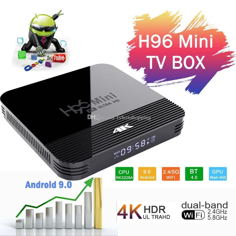 H96 Mini H8 2 Go / 16 Go Android 9.0 OTT TV BOX RK3228A Quad Dual Core WiFi 2G + 5G BT4.0 PK X96 MAX TX3