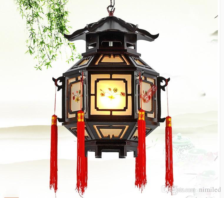 Chinese Style Palace Lanterns Chandelier Waterproof Indoor Outdoor Balcony Corridor Tea House Wood Pendant Lamp LLFA