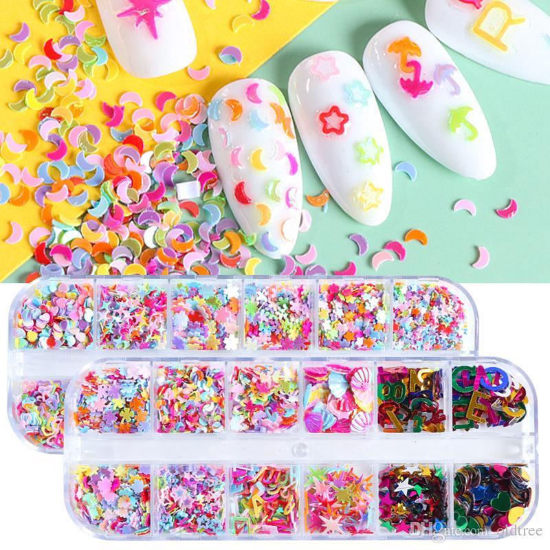 12 Cuadrícula / Set estrella 3D / corazón / carta de uñas holográfica de las lentejuelas brillantes copos de rebanadas del brillo de bricolaje polaco manicura Nails Art Accesorios CH1622