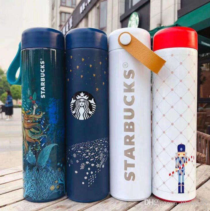 Le dernier nouveau flacon vide en acier inoxydable Starbucks 16z 11 dans le style de tasse tasse de café grain de bois qui accompagne la livraison gratuite