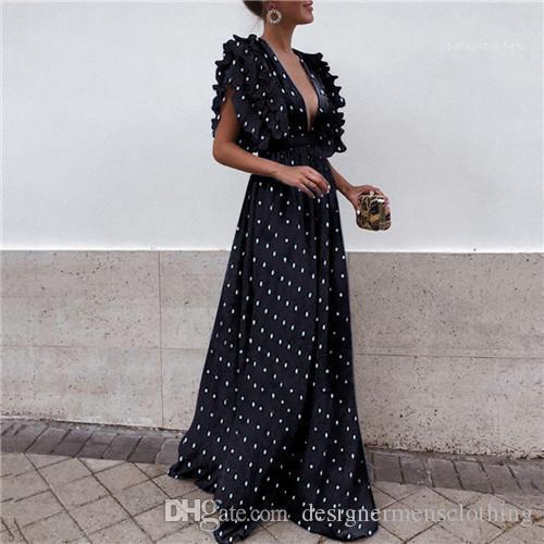 Hülsen-Kleider mit V-Ausschnitt-Punkt-Druck-Art- Lässige Kleidung bodenlangen Kleid Weiblicher Frauen Sommer Batwing
