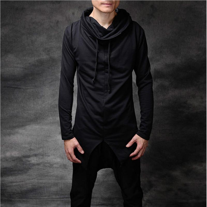 Hood İpli Turtleneck Hip Hop Gotik Tişörtü Hoodies ile Mens TurtleneckHoodie Punk Stil Siyah Kazak