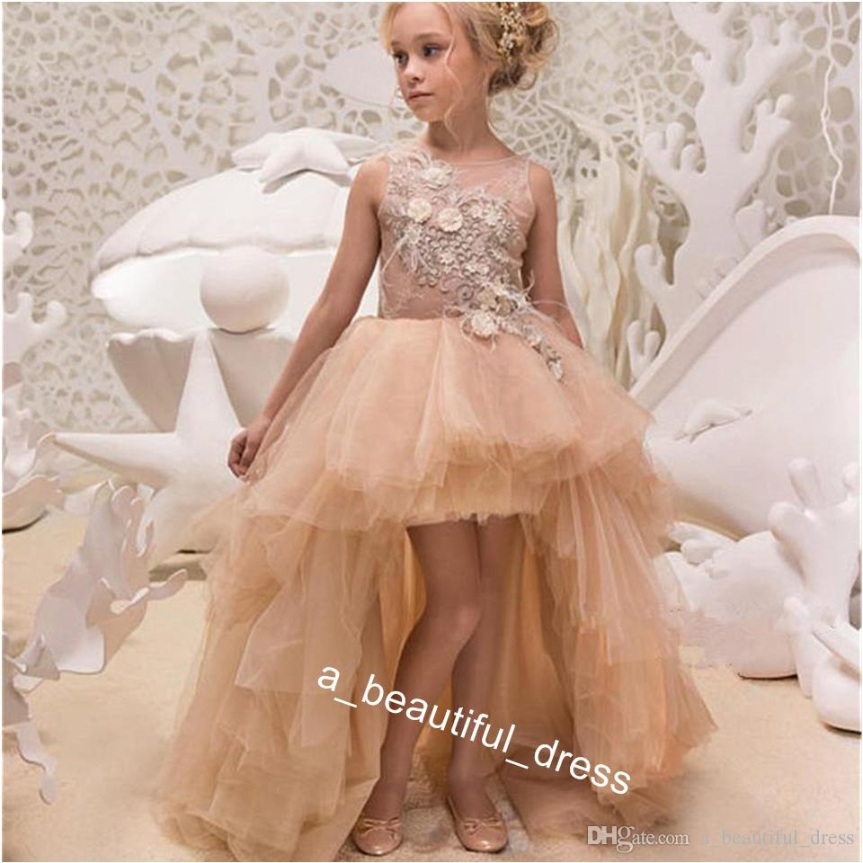 Long Sleeve Sheer Neck Tulle Flower Girls' Dresses Hand Made Applique Lace Kids Formal Party Dress Fast Ship Bow Back Sweep Train FG1305
