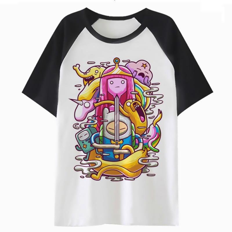 مغامرة الوقت T قميص تي شيرت أزياء الهيب هوب الرجال النساء المتناثرة الأعلى تي شيرت الشارع الشهير ذكر أنثى ل