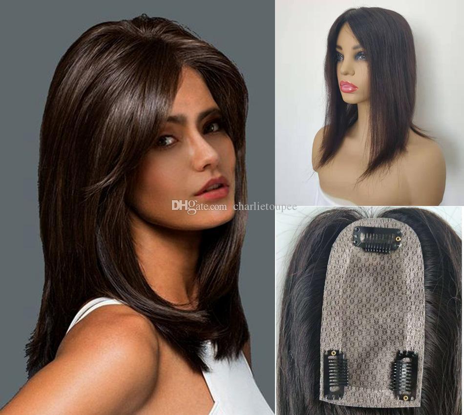 Стоковое Изображение Бесплатная Доставка Натуральный Цвет Шелковый Базой Человеческие Волосы Топперы Для Исходующихся Волос Женщины 2.5 * 5-дюймовый Клип в верхней