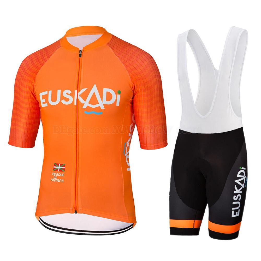 2020 البرتقال جديد مجموعة الموالية الدراجات جيرسي فريق الرجال الصيف الرياضة في الهواء الطلق سباق دراجة الملابس مريلة السراويل GEL PAD تنفس روبا دي HOMBRE
