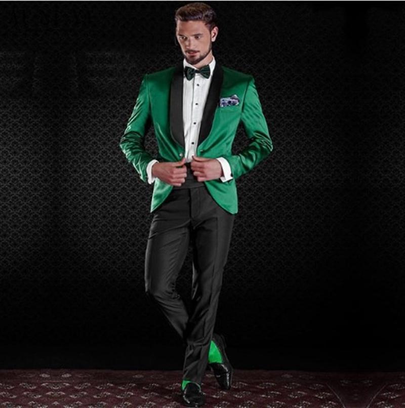 Klasik Şal yaka smokin damat düğün erkek takım elbise erkek evlilik giysileri de kostüm hommes erkek (Ceket + Pantolon + Kravat) Y225 dökmek smokin