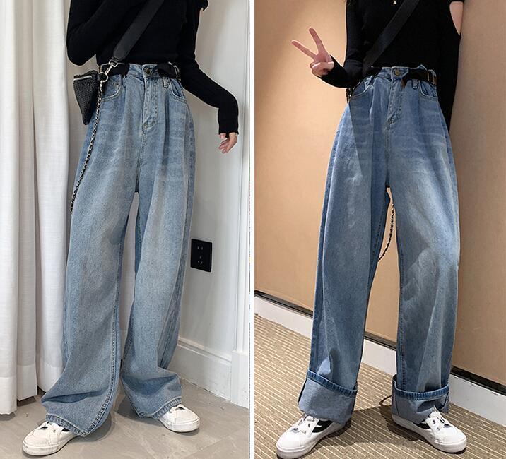 Kadınlar Jeans Büyük Boy Pantolon Serbest Yüksek Bel geniş bacak kot Kadınlar Jean Kore Stil All-maç Delik Tam uzunlukta Denim Pantolon