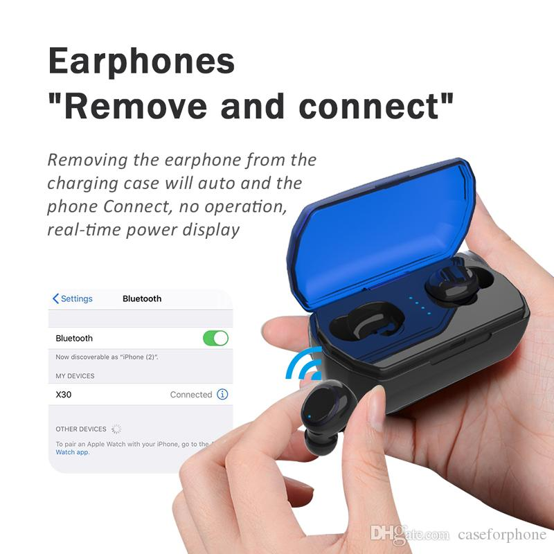 Binaural Smart Touch TWS X30 Ultra Mini Headphones IPX5 Waterproof Wireless Bluetooth Earphone with S M L Earbuds for iOS Android Tablet PC