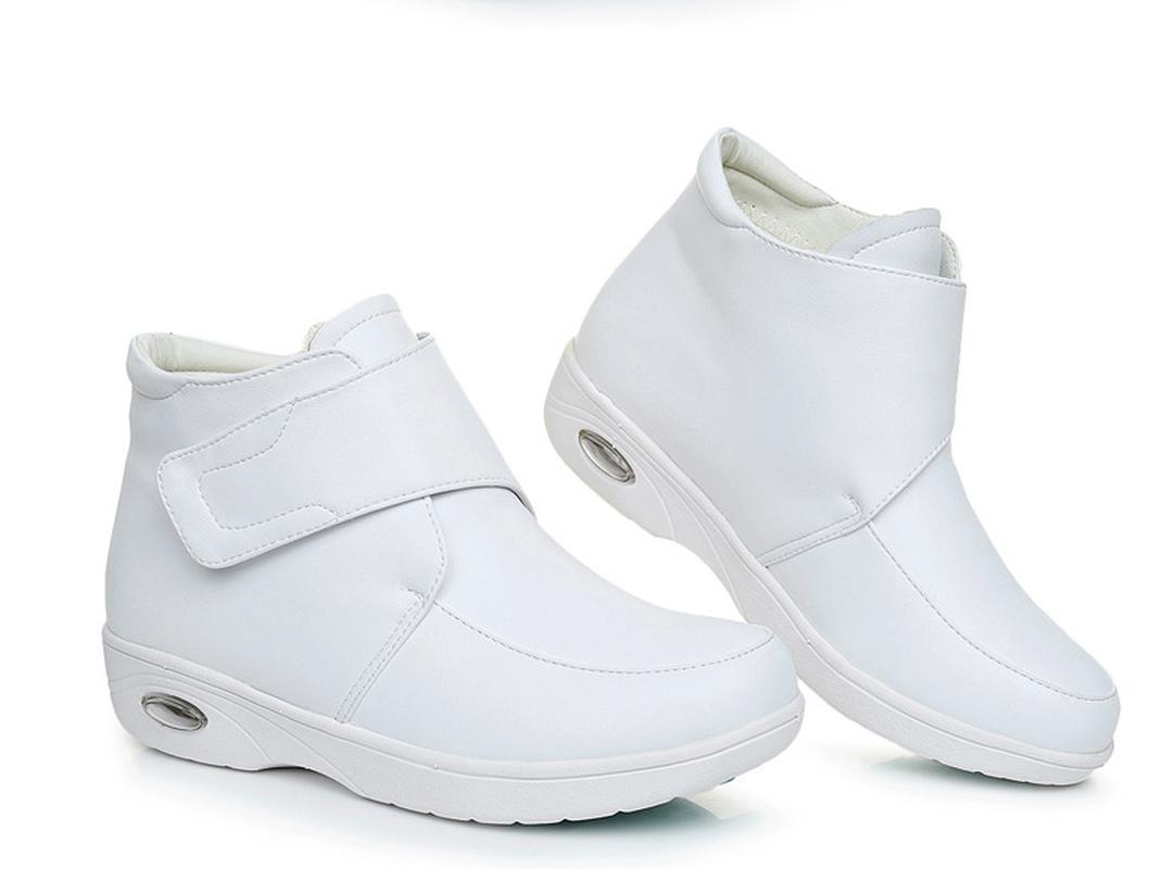 Las mujeres de moda las botas del tobillo caliente Comfort mediados talón blanca antideslizante madre lactante zapatos de trabajo resistente a las señoras de C453 informal