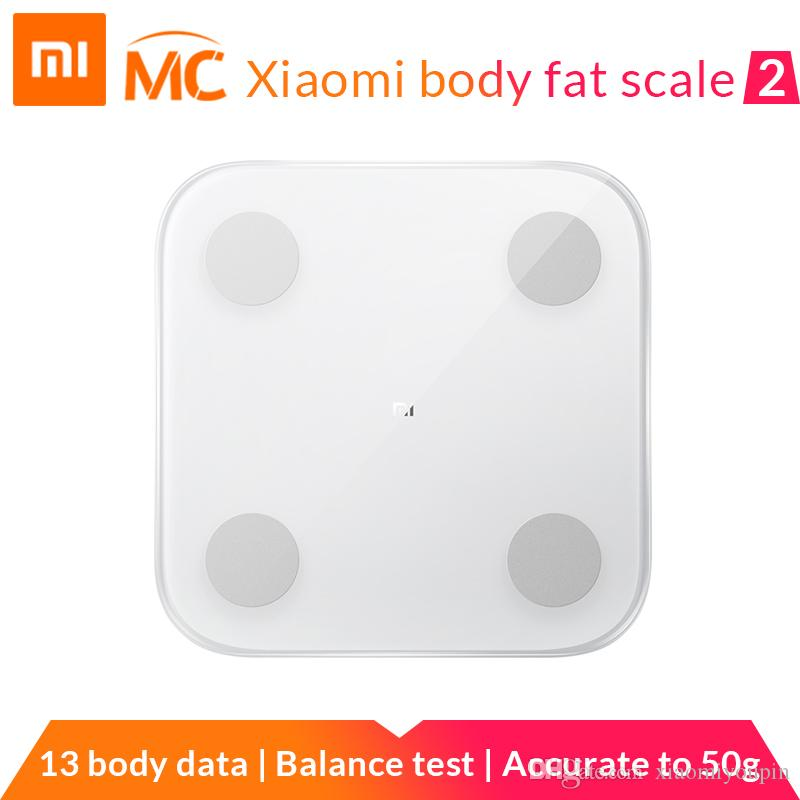 (Pre-venta) de la nueva llegada de Xiaomi Mi inteligente grasa corporal Escala 2 con la composición Mifit APP cuerpo del monitor Con Ocultos LED Display grasa Escala