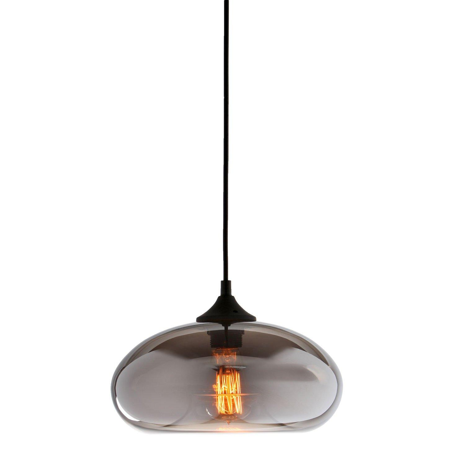 Clear Glass Shade Industrial Hanging Lamp 1-Light Pendant Lamp with 1 Vintage Edison Style Bulb, Sphere Shape Ceiling Fixture