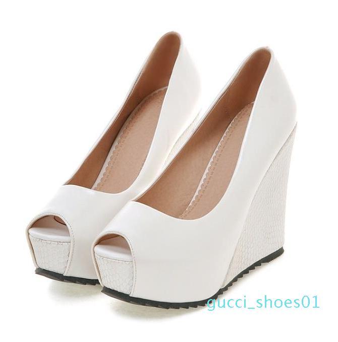kutu boyutu ile 33 ila 42 Seksi yüksek topuklu gelinlik ayakkabıları peep toe platformu dilimleri beyaz tasarım G01 pompalar pembe