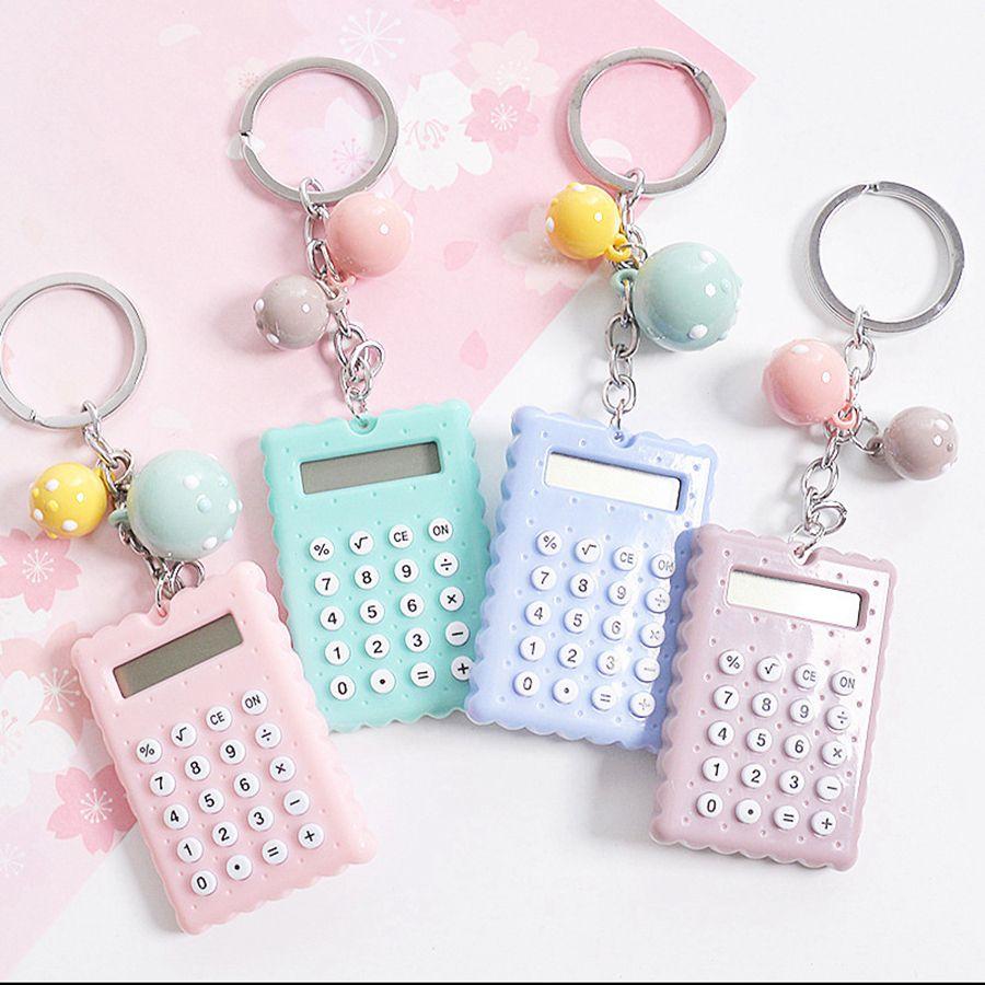 Beweglicher netter elektronischen Taschenrechner Schlüsselanhänger Mini Scientific Calculator Schlüsselring Studententaschenrechner Bürobedarf Geschenk TTA577-14