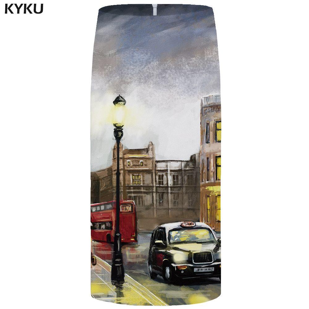 KYKU Cidade Saias Mulheres Car Sexy Pintura Casual colorido do partido Lápis 3d Imprimir saia das senhoras saias Womens Anime-coreano curta