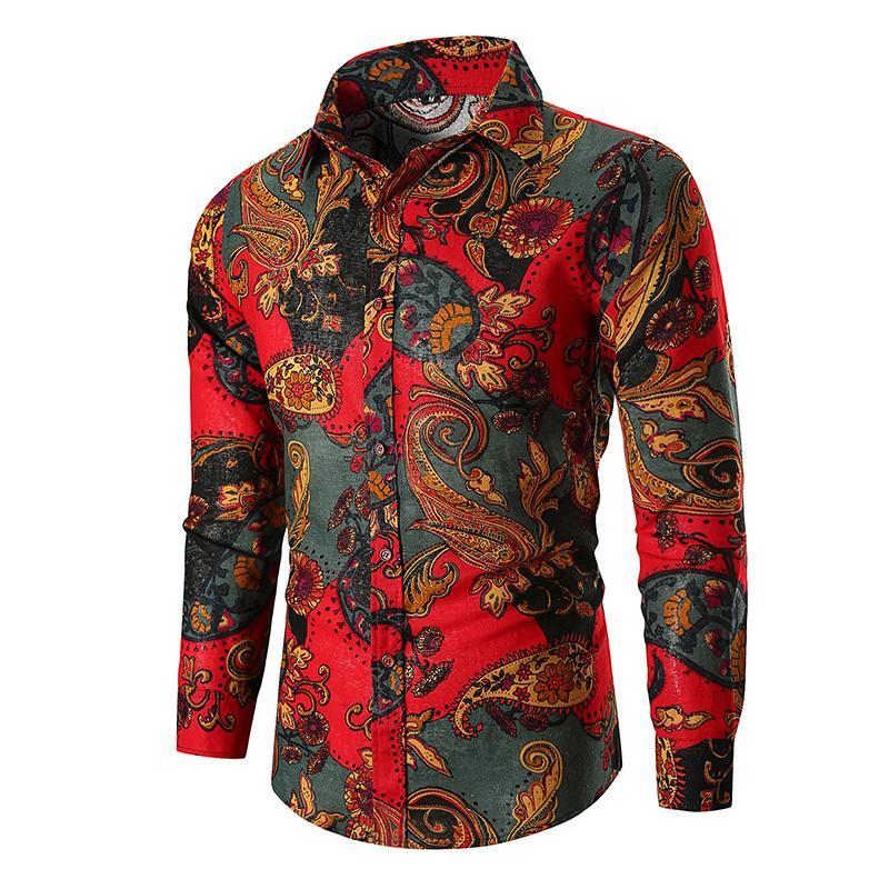 Camisas con estampado de flores florales de los hombres de la nueva moda Camisa casual de negocios para hombres Camisas de vestir para hombres Camisa de lujo de manga larga