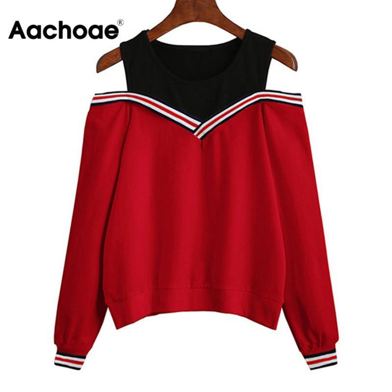 Aachoae 2020 Femmes épaules loisirs Pull Hoodies manches longues Casual Automne Sweat Jumper Tops Outwear Sudadera Mujer