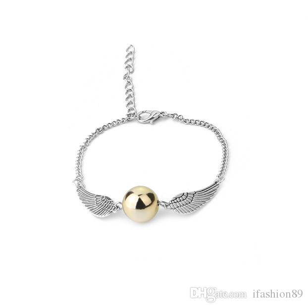 Fashion Harry Quidditch Golden Snitch bracelets for women and men Potter cute ball wings chain bracelets nice gifts epacket