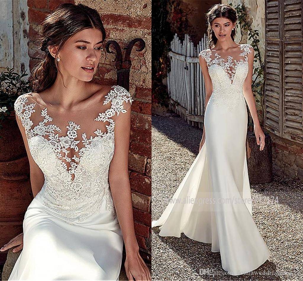 2020 Modest Soft Satin Scoop Mermaid Wedding Dresses With Lace Appliques Sheer Bridal Dress Illusion Back Hot Sale