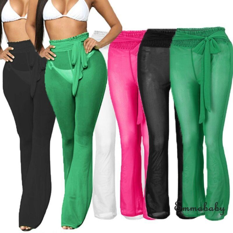 Mulheres ver através Praia malha Sheer calças perna larga cintura alta Bikini Cover Up Sashes Party Club Chiffon Sólidos Pants Sexy Hot