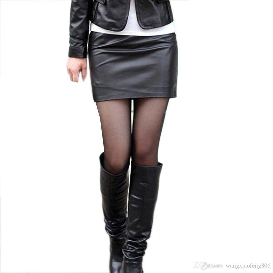 Женская искусственная кожа высокая талия карандаш Bodycon хип короткая мини-юбка платье плюс размер