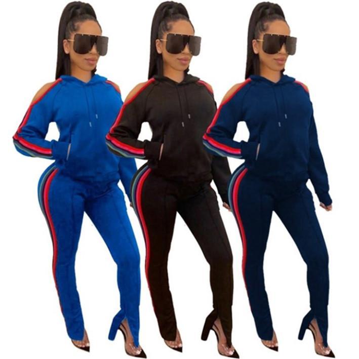 женские два куска набора костюм брюки рубашки нарядов длинного рукав спортивной рубашка брюки Sweatsuit пуловеры bodycom спортивной горячую klw2794