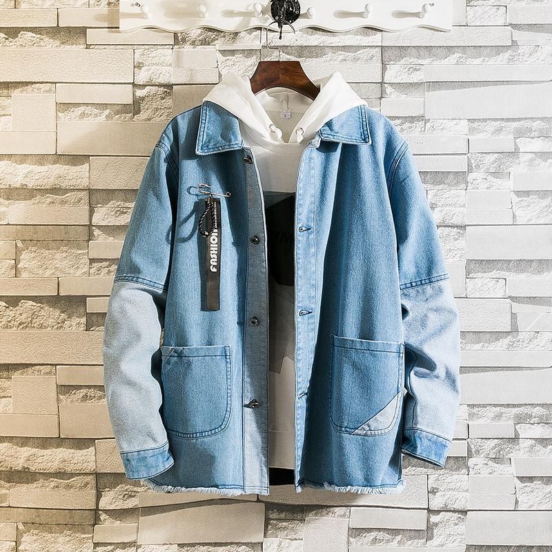 новый с капюшоном хип-хоп мужская ретро джинсовая уличная повседневная куртка-бомбер Harajuku fashion coat T200318
