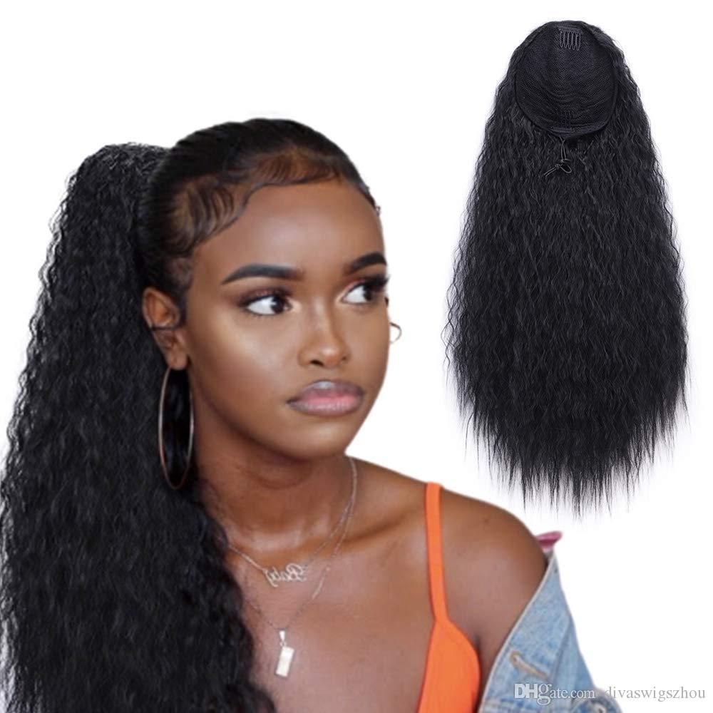 Хвост человеческих волос 10-22 дюймов Кудрявые прямые вьющиеся волосы Хвост с двумя пластиковыми расческами Доступно больше цветов