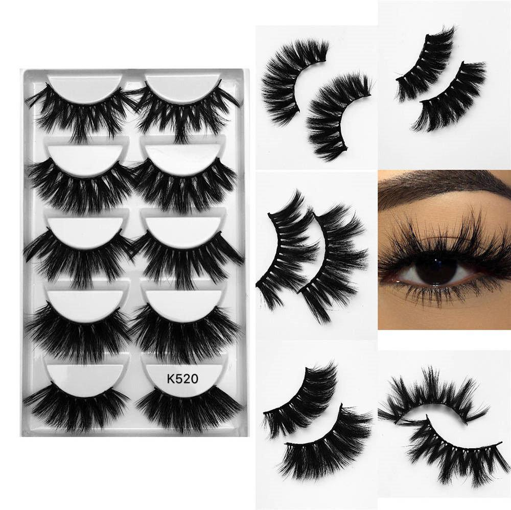 Multi pack 18mm long Dramatic 5 pairs private label real faux mink false eyelashes 3d mink lashes vendor K520