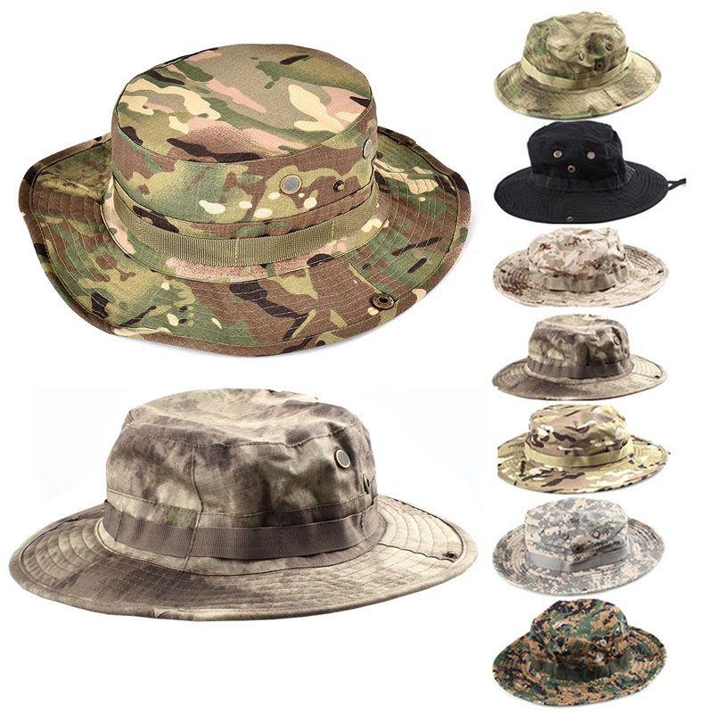 L'armée américaine tactique militaire Boonie Hat Hommes Camo Cap Paintball Chasse Airsoft Casquettes Sniper Bucket pêche en plein air chapeaux de soleil