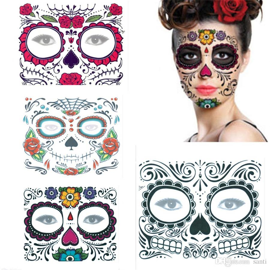 Day of The Dead Special Waterproof Face Tattoo Sticker Decorations Fit for Masquerade Festival Party Halloween Temporary Tattoos Facial Stickers for Women /& Man 6 Sets collection)