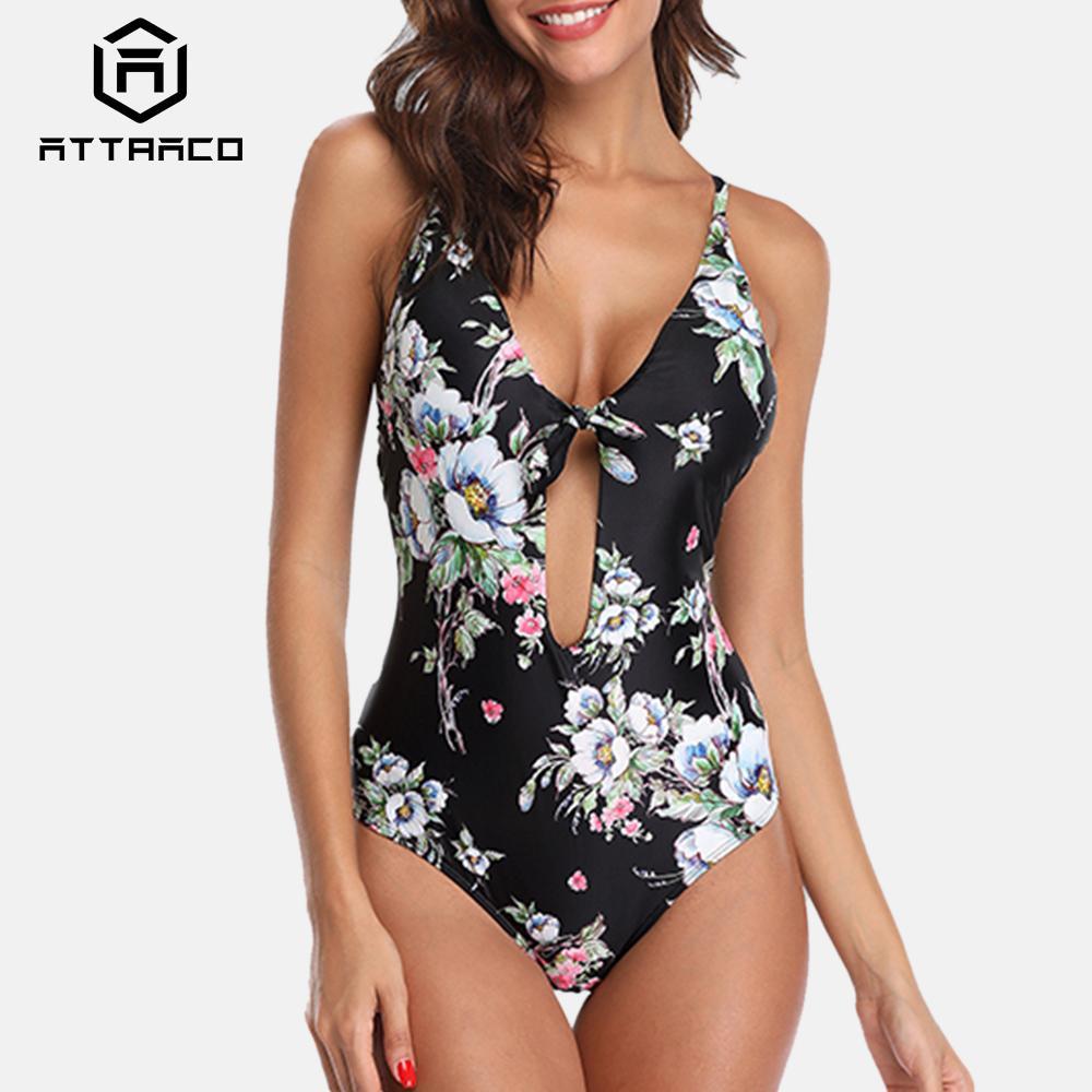 Attraco Mulheres Swimsuit de uma peça Floral Imprimir Backless Pescoço V enfaixada com Tiras Voltar Cruz Sexy Bikini Beachwear Fatos de banho