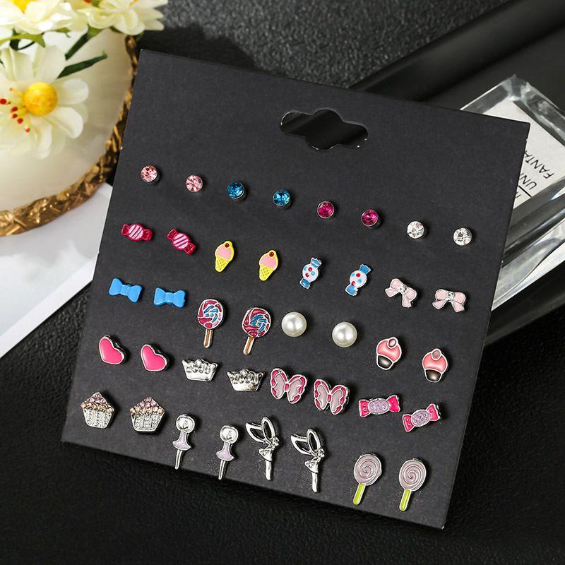 Korean Version cute childrens candy earrings set pearl Angel oil dripping Earrings Trinket