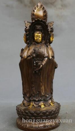 "10.4"" China budismo bronce cuatro lados Kwan-yin Guanyin Párese la flor de loto estatua"