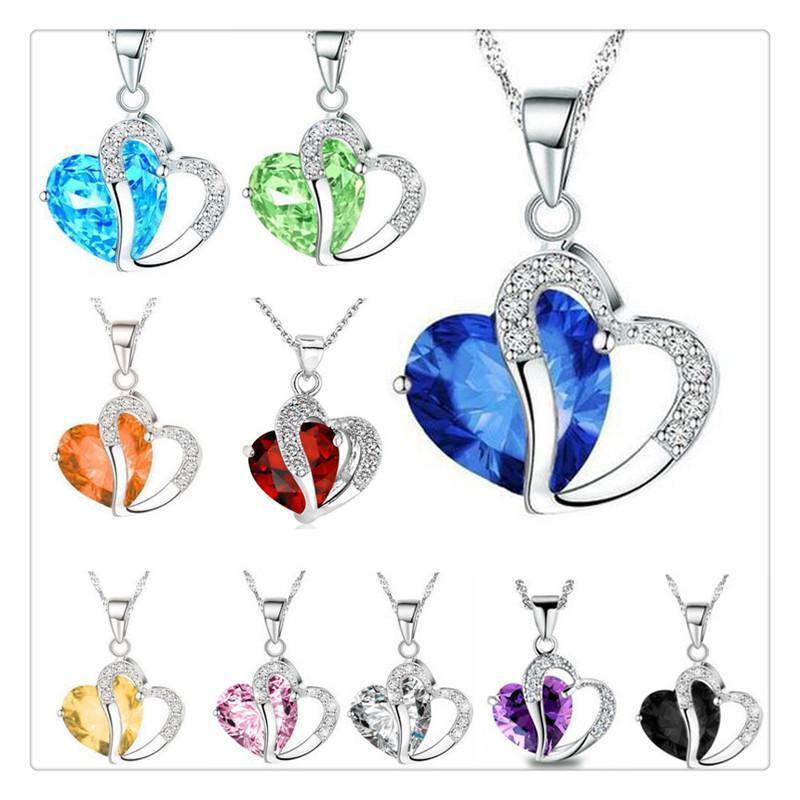 Nova Prata Jóias Mulheres Colar strass Coração de Cristal Moda corrente de prata colar de jóias Hot Selling 10 cores