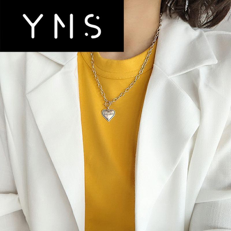 YNSL01 Нового S925 Sterling Silver Старого ретро черный ожерелье женщины сердце любовь ВЗ Ее Hipster Личность L0828