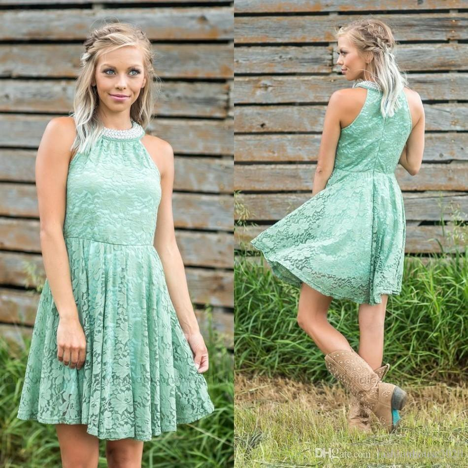 Mint Green Short Full Lace Bridesmaid Dresses Halter Pearls Sleeveless Cheap Country Style Bridesmaids Dress Prom Party Gowns For Weddings
