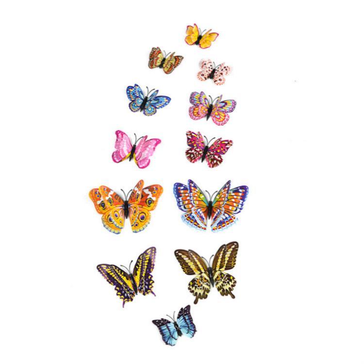 فراشة مضيئة المغناطيسي الجدار ملصق تعيش الفراشات الغرفة لحضور حفل زفاف حزب الديكور ملصقات الرئيسية 3D الثلاجة خلفية 12PCS / مجموعة