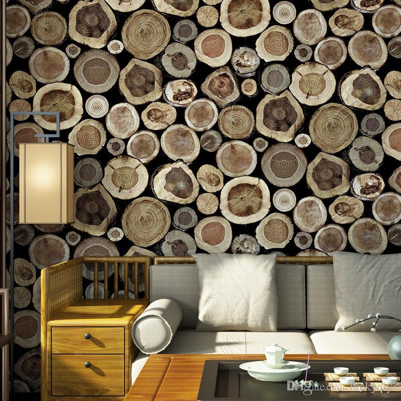 새로운 특별 나무 곡물 벽지 3D PVC 방수 개성 벽지 찻집 카페 TV 배경 독특한 가게 벽 장식 벽지