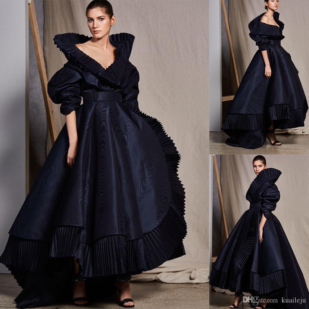 Vestido de bola negro Ashi Estudio vestido de fiesta con cuello en V manga corta vestido de fiesta de satén acanalada Niveles de barrido tren trajes de soirée