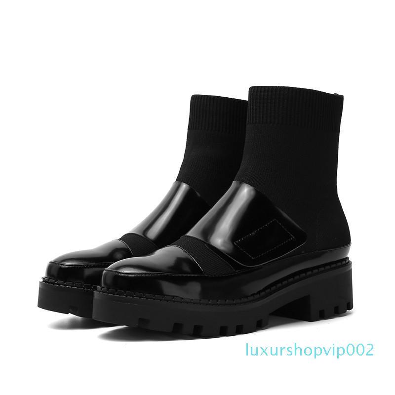 La venta caliente-Masgulahe nuevo llega el otoño de 2020 botas de invierno para las mujeres deslizan en los zapatos de tobillo botas con punta redonda de la venta caliente de cuero genuino negro