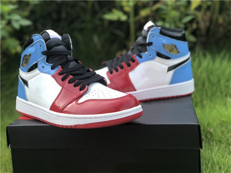 2019 New Release 1 High OG Fearless Red Blue Men Basketball shoes 1S CK5666-100 UNC Chicago Sports Patent Leather Sneakers