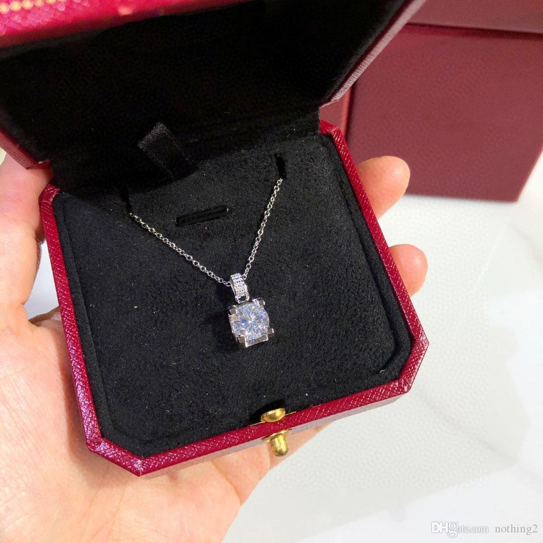 Collana Diamante Donna Collana con pendente S925 Placcato argento Placcato Collana catena individualità per le donne Regalo di nozze del partito