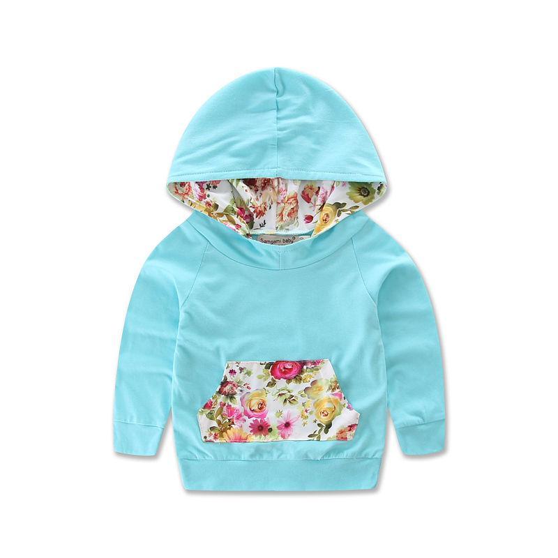 2ST Set Baby-Mädchen-warme Kapuzen Tops Cotton Flower Mantel Hosen Freizeit-Outfit Blumenkleinkind-Baby-Kleidung