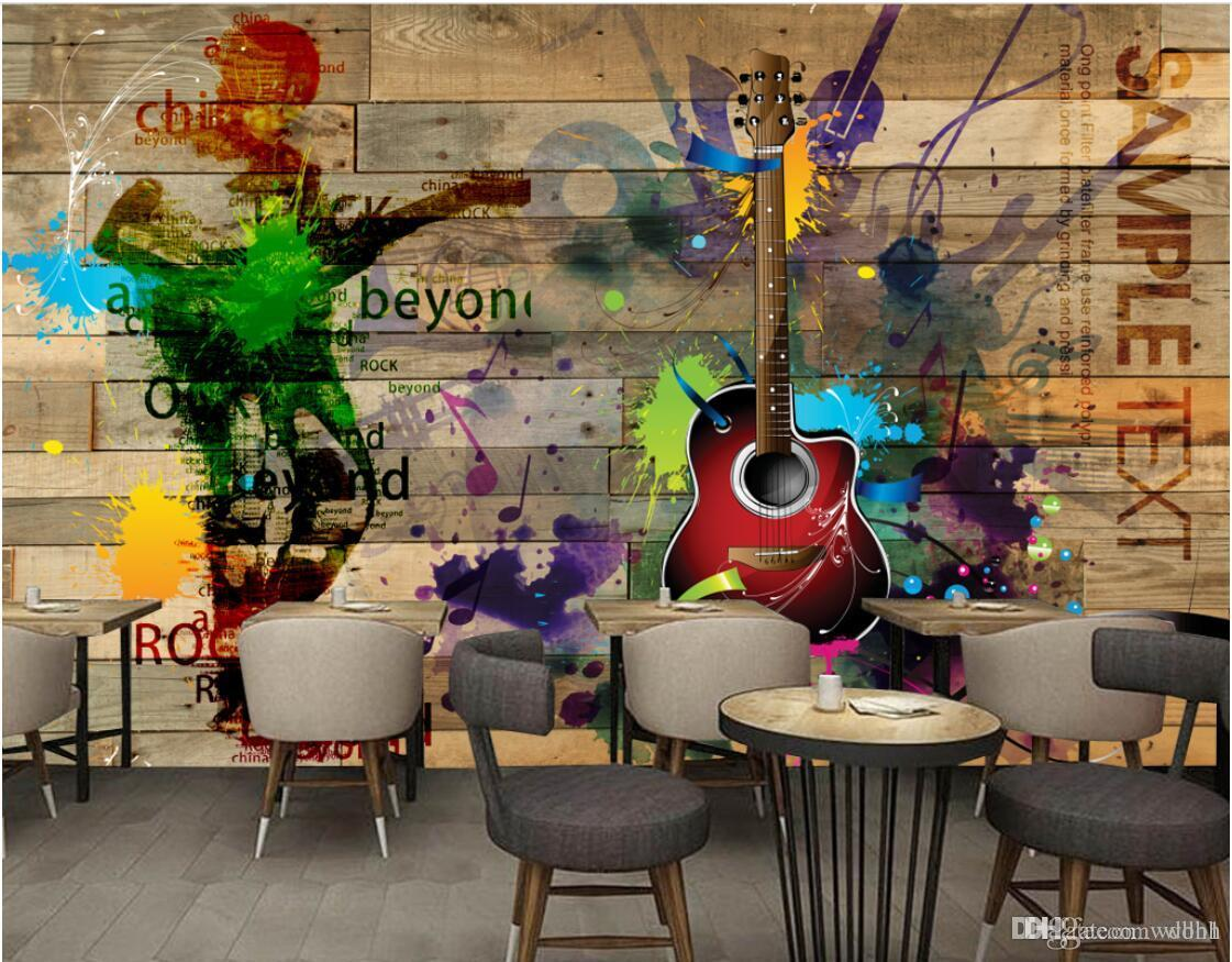 3d papel de parede personalizado foto mural Retro vintage rock music board guitarra de madeira mural fundo murais de parede 3d paisagem tapeçaria de parede 3d