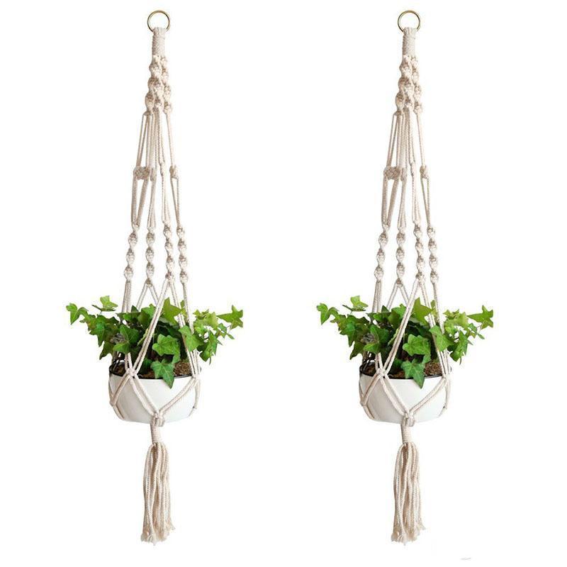 Anlage Kleiderbügel Macrameseil Töpfe Halter Seil Wandbehang Planter Hanging Basket Pflanzenhalter Indoor Blumenkorb Hebe